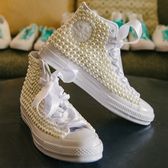Converse Shoes White Decorated With Pearls Poshmark